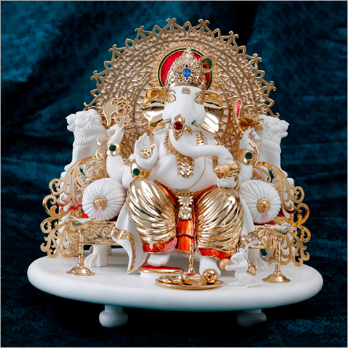 Gold Plated Resin Marble Powder Ganesh Statue