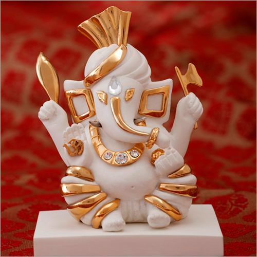 Home Decor Gold Plated Resin Ganesha Statue