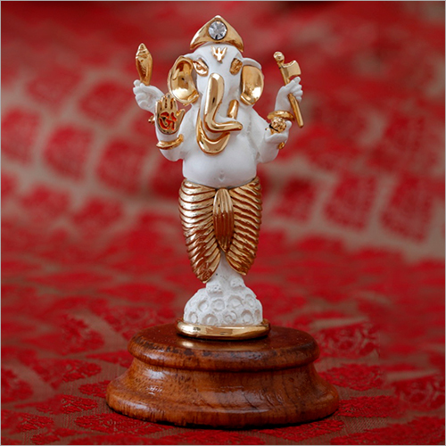 Gold Plated Resin Standing Ganesh Statue