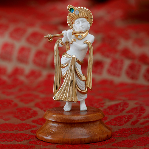 Gold Plated Resin God Standing Krishna Statue
