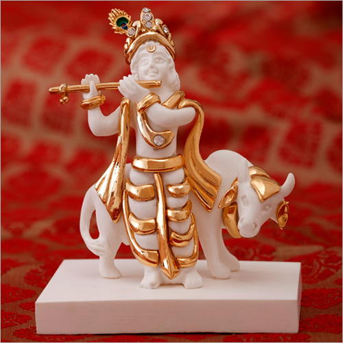 Decorative Gold Plated Resin Krishna Statue With Cow