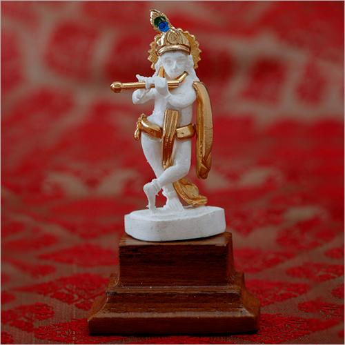 Gold Plated Resin Marble Powder Krishna Statue