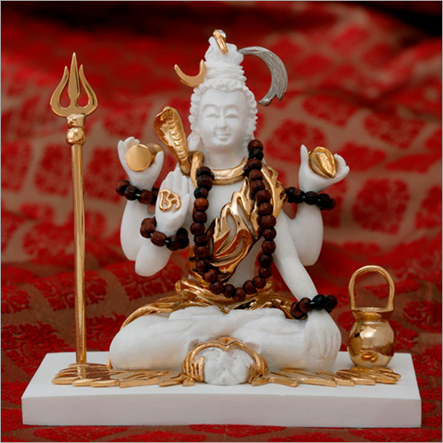 Home Decor Gold Plated Resin Shiva Statue