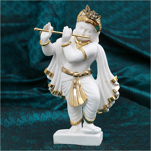 Gold Plated Resin Krishna With Flute Statue