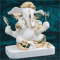 Designer Gold Plated Resin Ganesha Statue