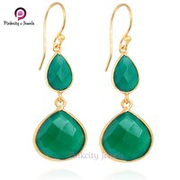 Natural Green Onyx Faceted 925 Silver Earring