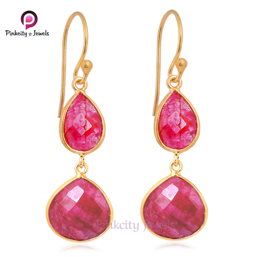 Hot Sale Ruby Faceted  925 Silver Earring