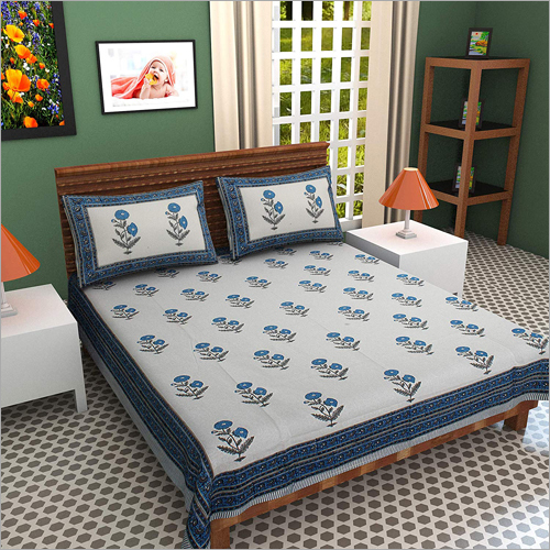 Hand Block Printed Cotton Double Bed Sheet
