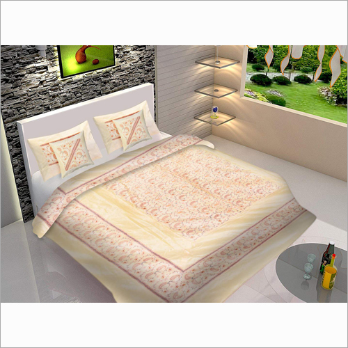 100% Kashmiri Cream Embroidery Double Bed Sheet