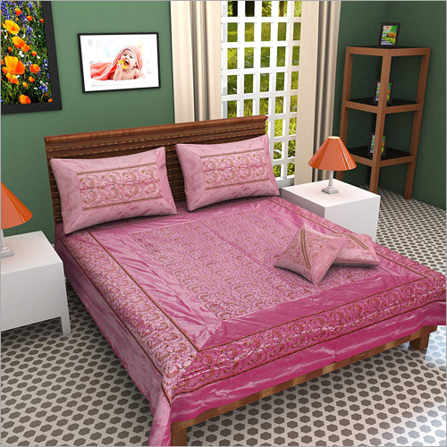 100% Silk Kashmiri Pink Embroidery Double Bed sheet