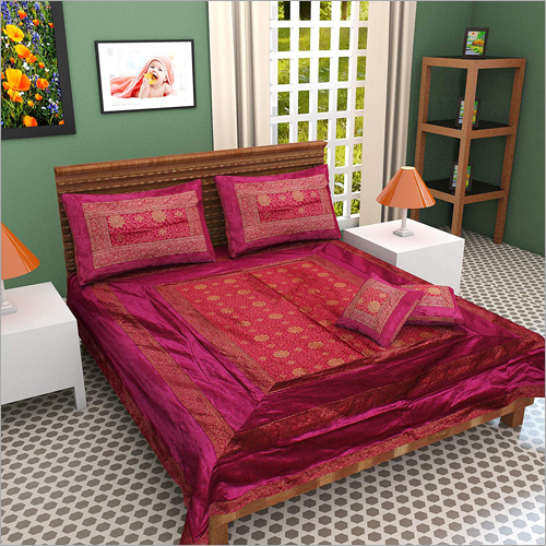 Zari Border Queen Size Double Bed Sheet