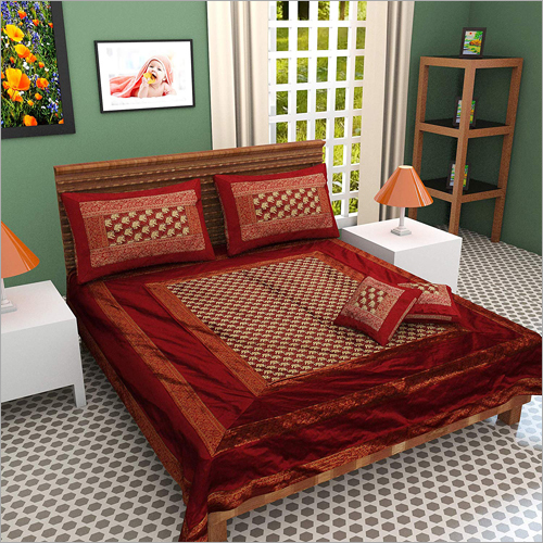 100% Silk Maroon Color With Zari Border Double Bed Sheet