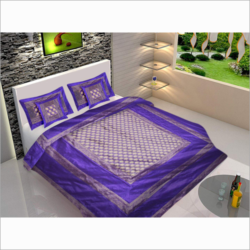 100% Silk Zari Border Designer Double Bed Sheet