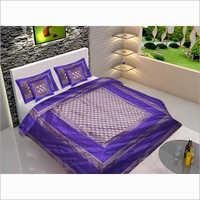 100% Silk Zari Border Designer Double Bed Sheet