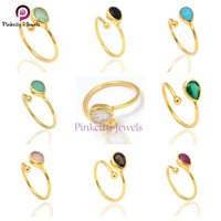 Turquoise Pear Shape 925 Sterling Silver Gold Plated Adjustable Ring Jewelry