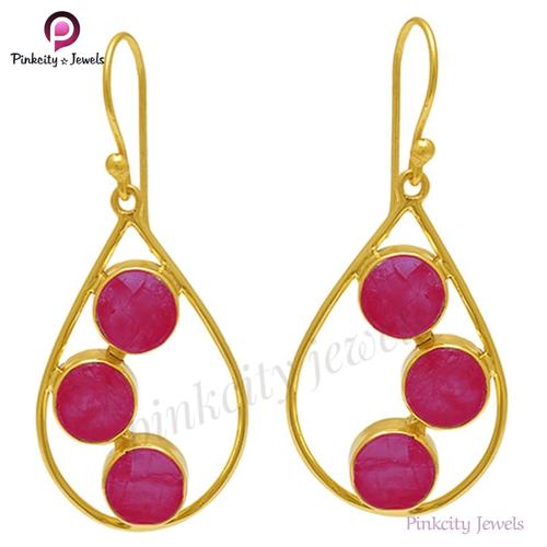 Hot Ruby 925 Silver Earring