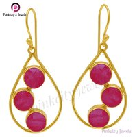 Hot Ruby Faceted Round 925 Sterling Silver Earring