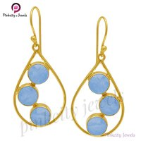 Natural Blue Chalcedony Faceted 925 Silver Earring