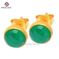 Natural Green Onyx Gemstone 925 Silver Stud Earring