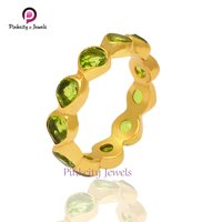 Peridot Faceted Gemstone 925 silver Ring