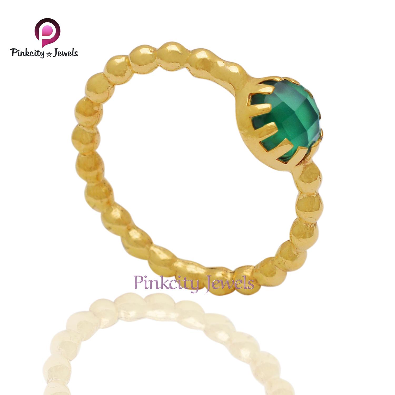 Natural Green Onyx 925 Silver Ring