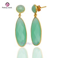 Faceted Aqua Chalcedony 925 Silver Earring