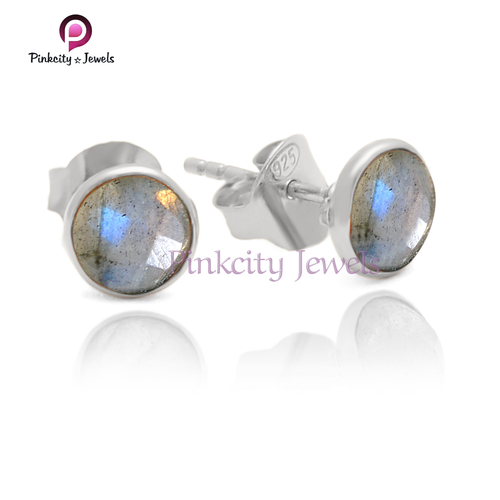 Natural Faceted Labradorite 925 Silver Earring