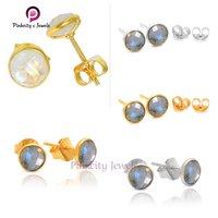 Rainbow Moonstone 925 Silver Stud Earring