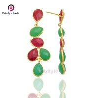 Fashionable Jewelry 925 Sterling Silver Multi Gemstone Gold Plated Earring