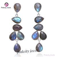 Natural Labradorite Faceted 925 Silver Earring
