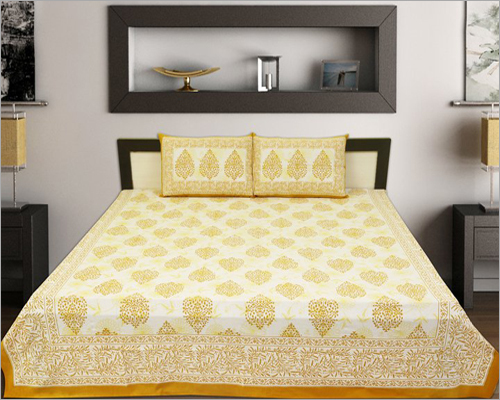 Yellow Printed Bed Sheet Set