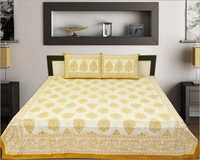 Yellow Printed Bed Sheet Set