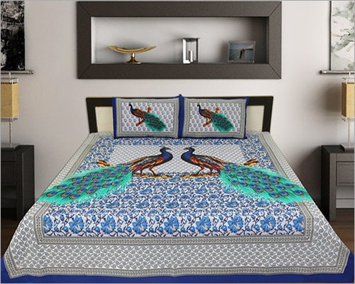 Peacock Printed Bed Sheet Set