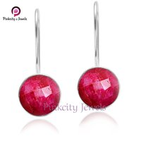 Ruby Round Faceted 925 Silver Earring