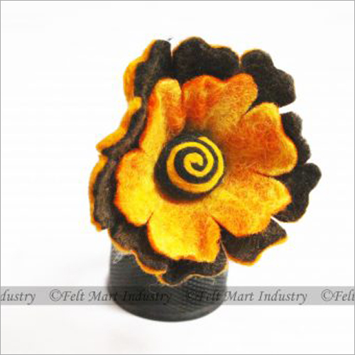Brown And Yellow Felt Flower