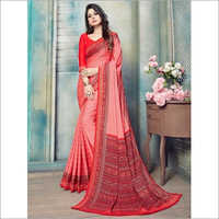 Red Pure Kasturi Crepe Casual Saree