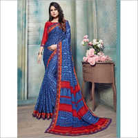 Navy Blue Pure Kasturi Crepe Casual Saree