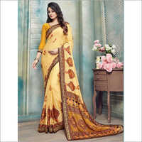 Yellow and Red Pure Kasturi Crepe Casual Saree