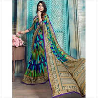 Green And Blue Pure Kasturi Crepe Casual Saree