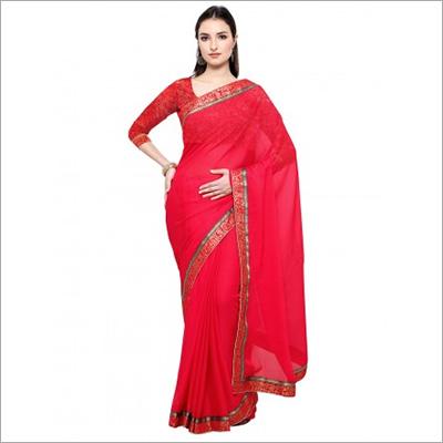 Red Art Silk Chiffon Casual wear Saree