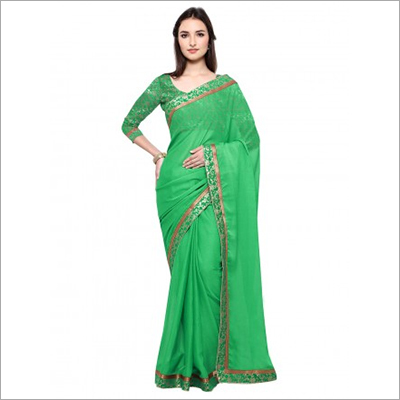 Green Art Silk Chiffon Saree