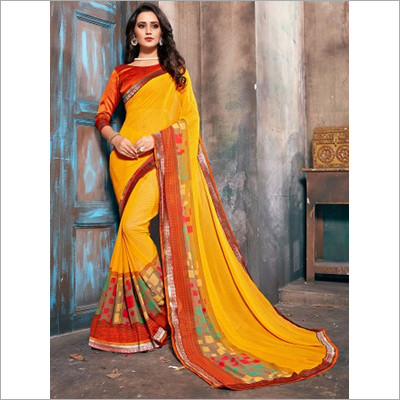 Yellow Faux Georgette Daily Wear Saree