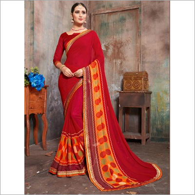 Red And Orange Faux Georgette Daily Wear Saree