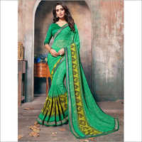 Green Faux Georgette Daily Wear Saree