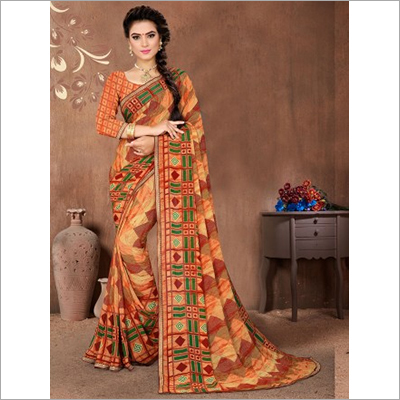 Multicolor Faux Georgette Casual Wear Saree