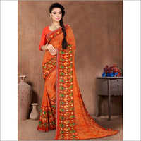 Orange Faux Georgette Daily Wear Saree