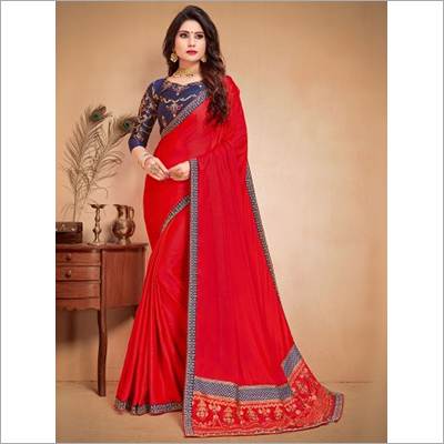 Red and Blue Faux Satin Saree