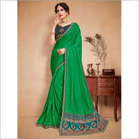 Green and Teal Faux Satin Saree