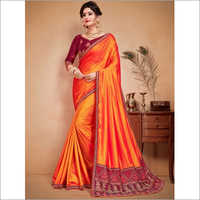 Orange and Maroon Faux Satin Saree
