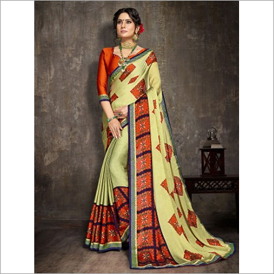 Light Green Moss Chiffon Fancy Saree